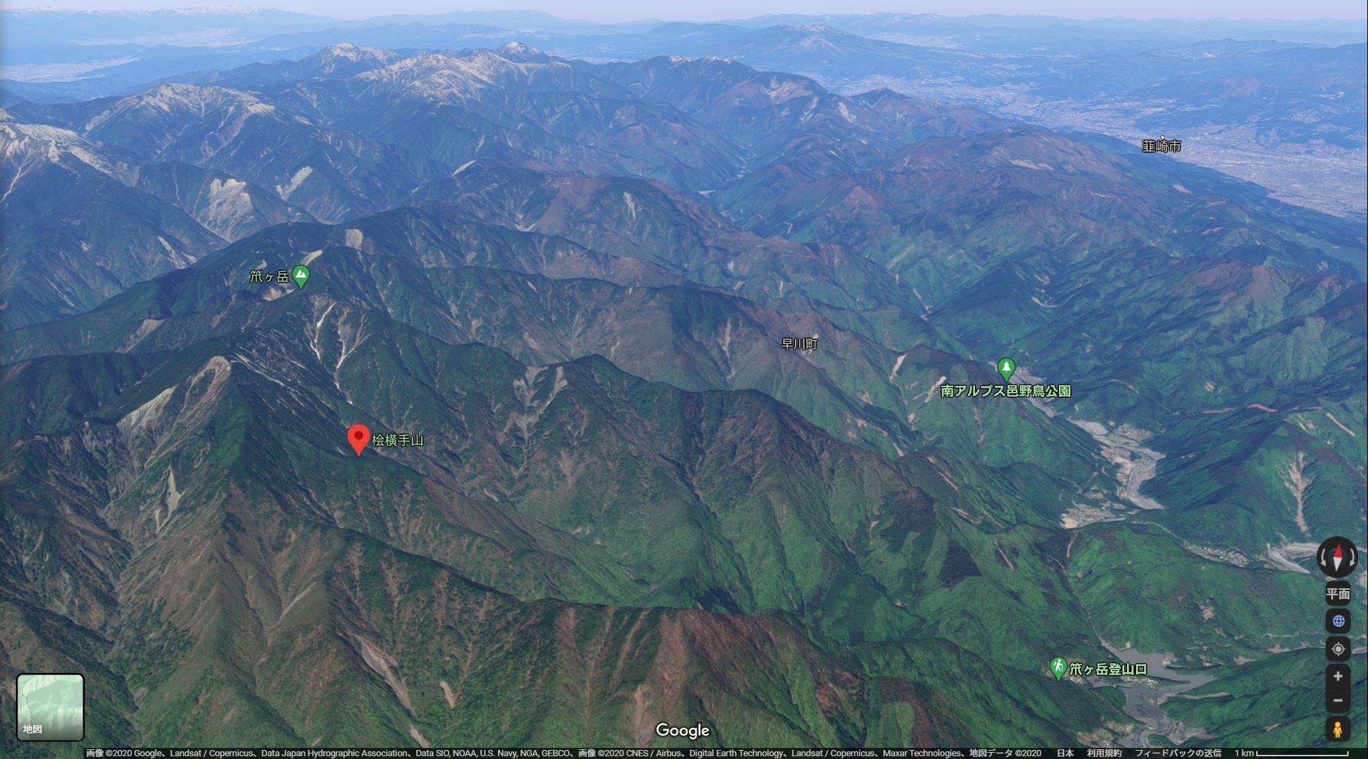 桧横手山の地図